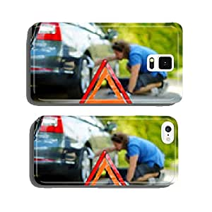 Red warning triangle sign on the road cell phone cover case Samsung S6