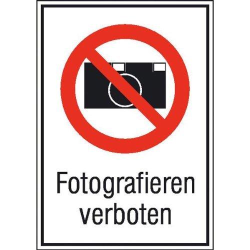 INDIGOS UG - Fotografieren verboten Verbotsschild, selbstklebende Folie, 13,10x18,50 cm