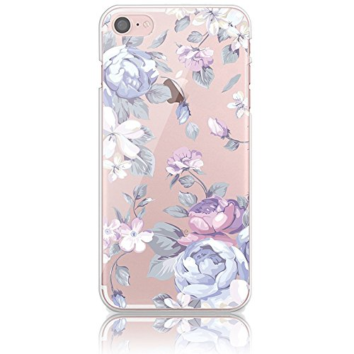 Purple Skin Fits Guitar (iPhone 5 Soft TPU Case, Bonice iPhone 5S/SE Premium Ultra Thin Slim Exact Fit Silicone Rubber Clear Transparent Back Cover Creative Design Scratch-Resistant Non-slip Protective Skin - Purple Flower)