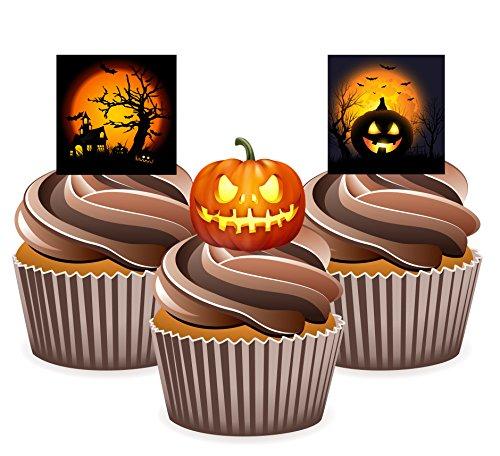 12 X Motif maison effrayante Halloween citrouille lumière carte en Papier comestible prédécoupé pour décorations de gâteau avec Support de fixation (7 - 10 BUSINESS DAYS DELIVERY FROM (Citrouille En Papier Halloween)