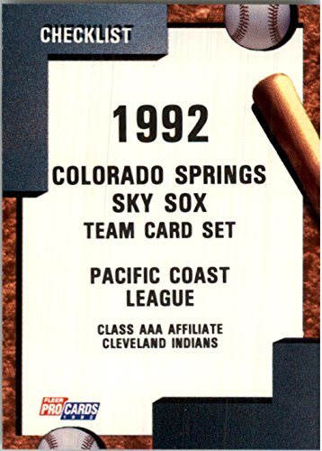 1992 Colorado Springs Sky Sox Fleer/ProCards #769 Checklist - NM-MT (Checklist Spring)