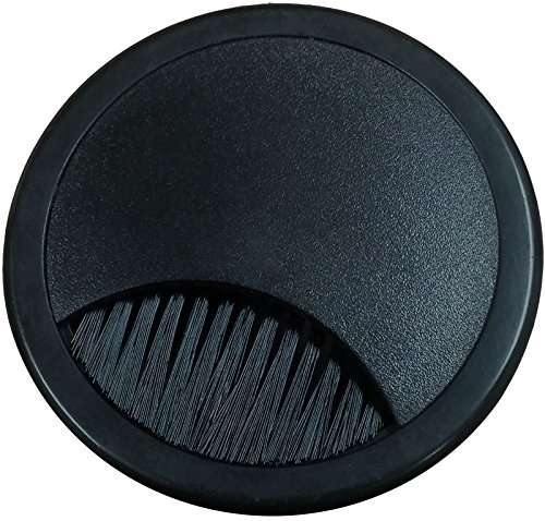 2.375'' Plastic Brush Desk Grommet - Black (3 Pack) by Electriduct