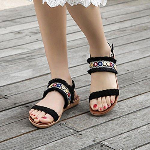 de mujer sandalias Sandalias Toe mujer RETUROM Negro abierta para verano Mujer mujer para zapatos plana para zapatos para sandalias Bohemia zqf7wZqY