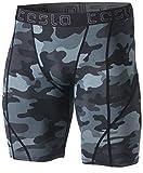 Tesla TM-MUS17-MDG_Medium Men's Compression Shorts Baselayer Cool Dry Sports Tights MUS17
