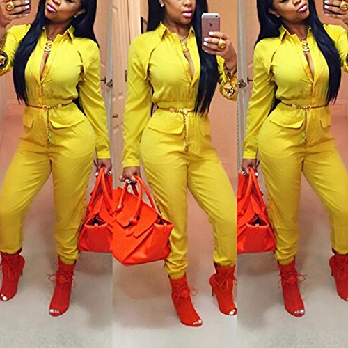 Mojessy Women Turn Dwon Collar Long Sleeve Zipper Blouson Elastic Waist Long Pants Ruched Jumpsuits