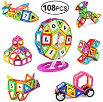 Tomons 108 PCS Magnetic Building Blocks Magnetic Tiles for Kids, Magnetic Blocks Stacking Blocks Set with Car