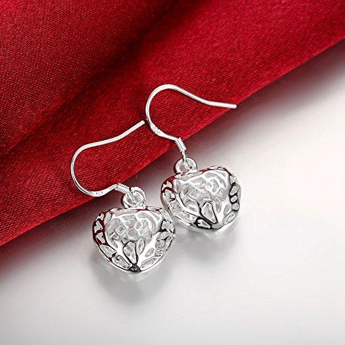 Lekima Bijoux Boucles d'oreilles Pendentif Coeur Creux Argent Clou d'oreille Femme Cadeau Anniversaire Mariage