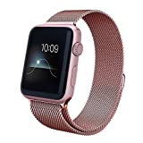 SAUS Apple Watch Band,38mm Milanese Loop Stainless Steel Bracelet Strap Replacement Sport Bands for All Apple iWatch Sport & Edition, Magnet Lock No Buckle Needed (Rosegold 38mm)