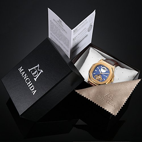 Skeleton Mens Automatic Mechanical Mens Wrist Watch - ManChDa Brown Genuine Leather Moon Sun Phase Blue Dial by ManChDa (Image #6)