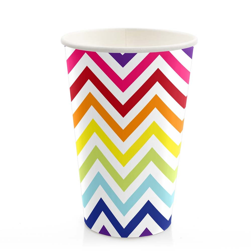 Big Dot of Happiness Chevron Rainbow - Party Tableware Plates, Cups, Napkins - Bundle for 32 by Big Dot of Happiness