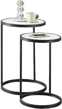 Home&Selected Furniture/Juego de 2 mesas Nido de mármol Tablas Mesa de Extremo Lateral con Estructura de Metal Mesita de luz (Color: Oro) (Color : Black): Amazon.es: Hogar