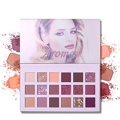 UCANBE Aromas Nudes Eyeshadow Palette, Matte Shimmer Glitter Blending 18 Color Eye Shadow Pallet with Mirror, Natural Velvet Texture Powder Creamy Cosmetic ()