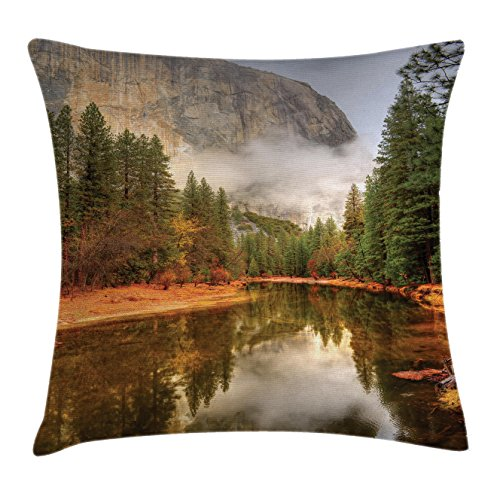 Yosemite Throw Pillow Cushion Cover by Ambesonne, Trees Reflections on Merced River Yosemite Valley National Park California in the Fall, Decorative Square Accent Pillow Case, 36 X 36 Inches, - Mercedes Valley