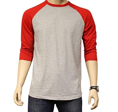 - Men's Plain Athletic 3/4 Sleeve Baseball Sports T-Shirt Raglan Shirt S-XL Team Jersey Gray Red L