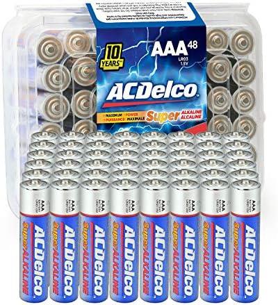 ACDelco 48-Count AAA Batteries, Maximum Power Super Alkaline Battery, 10-Year Shelf Life, Recloseable Packaging