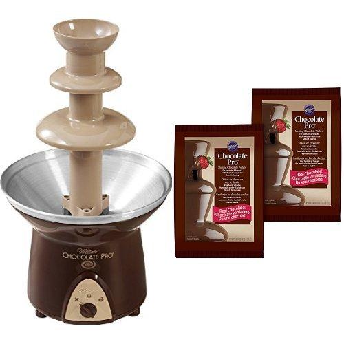 Wilton Chocolate Pro 3-Tier Chocolate Fountain + 2-Pack Chocolate Fondue Melting Wafers, 4 lb