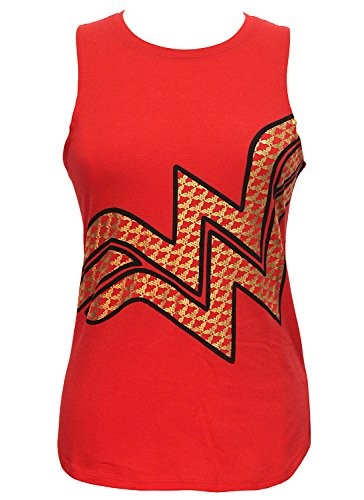 Superheroes DC Comics Wonder Woman Gold Foil Logo Junior's Muscle Tank Top (Red, Large)