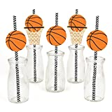 Nothin' But Net - Basketball Paper Straw Decor - Baby Shower or Birthday Party Decorative Straws - Set of 24