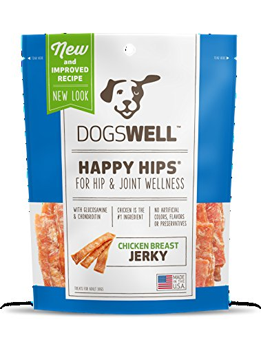 DOGSWELL HAPPY HIPS CHICKEN BREAST JERKY TREATS 24 OUNCE NATURAL HEALTHY MADE IN USA (1 BAG) - Dogswell Happy Hips Chicken