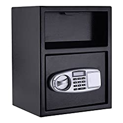 Digital Deposit Cash Drop Safe Box Front Load Security Lock Indoor Home Hotel Office Use With Ebook
