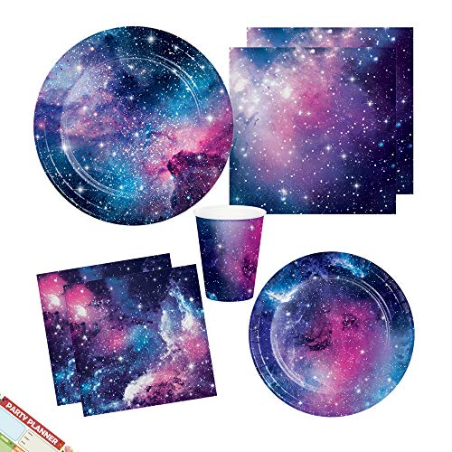 Loulouben Galaxy Space Birthday Party Supplies | Outer Space Theme Plates Napkins and Cups | Stunning Cosmic Star Designs | Perfect for Kids and Adults Party | Serves 16 (Tableware 1) ()