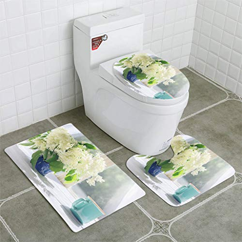 BEISISS Bathroom Mat Sets 4 Piece-Non-Slip - Short Plush Elder Flowers and Cup of hot Coffee by The Sunlight Window Bathroom Rug + Contour pad + lid Toilet seat+Toilet seat Cushion (Seat Cushions Window Uk)