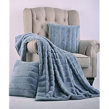 BOON Rabbit Fur Throw with 2 Pillow Combo Set, 50  x 60 , Ashley Blue