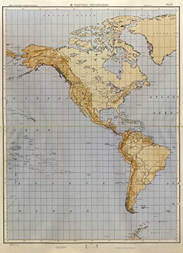 Art Oyster Map of North America and South America - World Outline map 1:19,000,000 (approximate), 1961-34