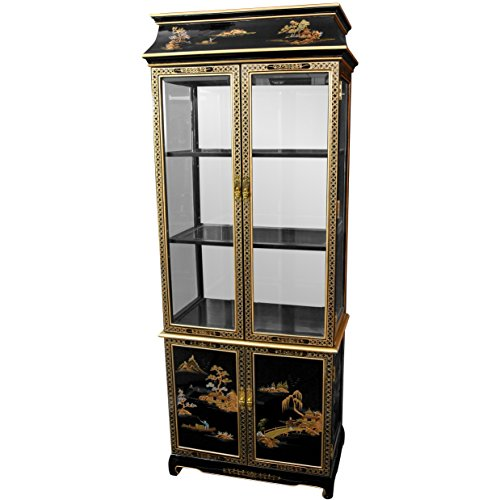 Oriental Furniture Ming Pagoda Top Curio Cabinet w/ Hand Painted Oriental Landscape(B) - Pagoda Curio