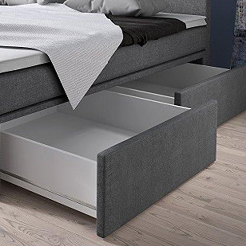 Wohnen Luxus Boxspringbett 140x200 Mit Bettkasten Grau Stoff Hotelbett Polsterbett Matratze Modell Roma 140 X 200