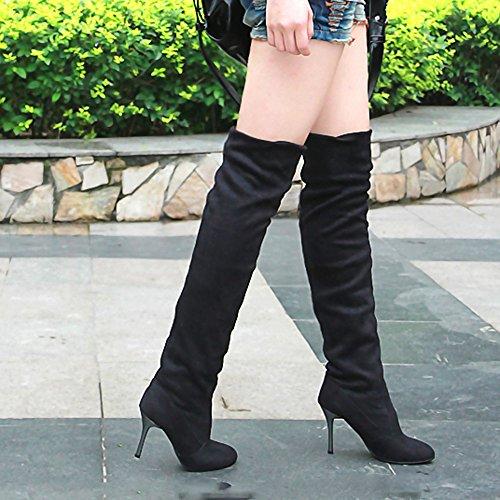 Dameslaarzen, Hatop Dames Herfst Winter Punt Teen Met Hoge Hakken Laarzen Voorzien Van Enkele Schoenen Zwart