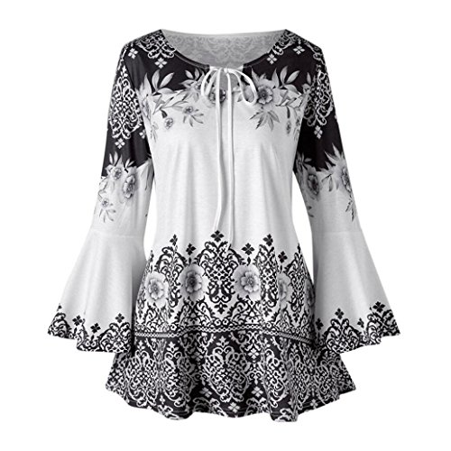 Clearance Women Tops COPPEN Womens Plus Size Printed Flare Sleeve Tops Blouses Keyhole T-Shirts