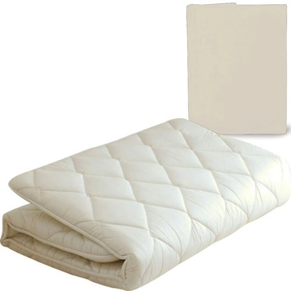 EMOOR Japanese Traditional Futon Mattress ''Classe'' with Mattress Cover (Milk White), Full Size. Made in Japan