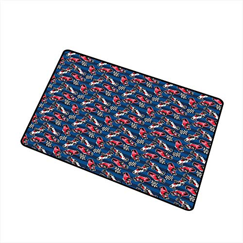 (Cars Welcome Door mat Vintage Racing Cars on Blue Stripes with Checkered Flags Automobile Sports Door mat is odorless and Durable W31.5 x L47.2 Inch Navy Blue Red Black)