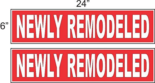 2 - 6x24 NEWLY REMODELED Real Estate Rider Sign Red REVERSE OUT