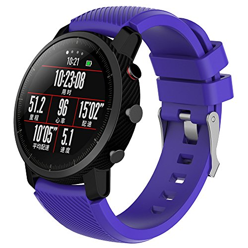 (Cywulin Silicone Sports Band for Xiaomi Huami Amazfit Stratos 2 and 2S Amazfit Bip BIT PACE, 22mm Breathable Smartwatch Replacement Waterproof Strap Small Large for Women Men (Small, Purple))