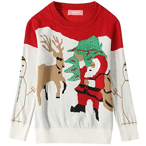 Camii Mia Big Girls' Santa Claus Reindeer Crewneck Ugly Christmas Sweater (Large(14), Red White) -