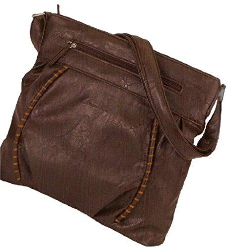 Alessandro LADY CHIC 4212 Handbag Damen Henkeltasche Schultertasche mit Handyfach und RV-Rückfach in3 Farben ca: 31/29/11 cm Schwarz/Rot qKuD36GtTf
