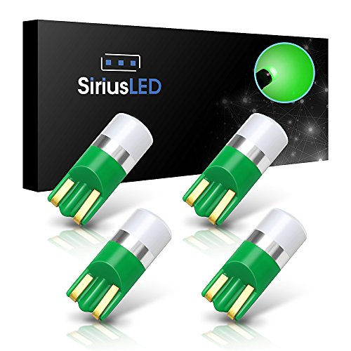 SiriusLED AG Super Bright 300 Lumen Ultra Compact LED Interior Light Bulb Size 168 175 194 2825 Pack of 4 Color Green