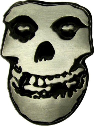 The Misfits - Black on Silver - Crimson Ghost Skull - Metal Belt Buckle (3.25