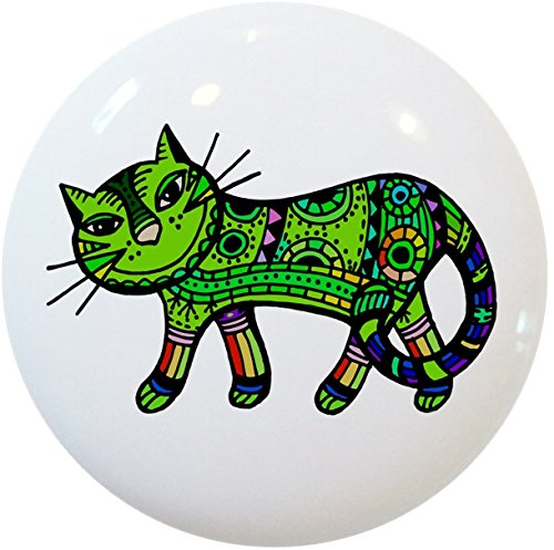 Carolina Hardware and Decor 2413 Green Abstract Cat Ceramic Cabinet Drawer Knob