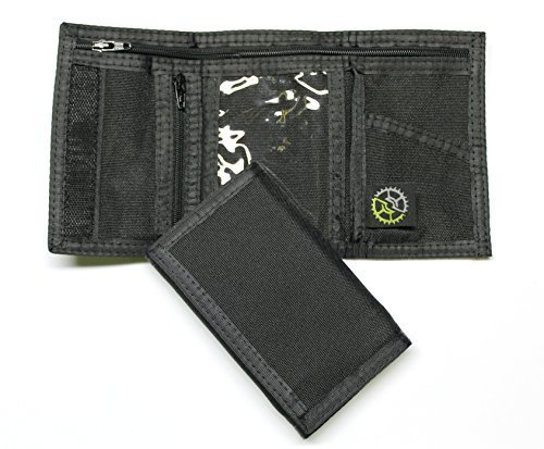 Black nylon wallet with three folds.