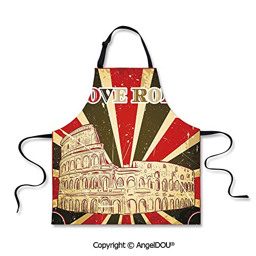 SCOXIXI Kitchen Bib Apron with Adjustable Neck I Love Rome Lettering with Circus Tent and Bold Stripes Ancient for Grill BBQ Cooking Cosplay Party.