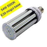 54W Led Corn Light Bulb for Indoor Outdoor 6700lumen E39 Base Equivalent to 250-300W HID Metal Halide/HPS Used in Street,Backyard,Acorn,Post Top,Garage (54W)