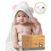 Luxury Hooded Baby Towel and Washcloth, ORGANIC Extra Soft Bamboo, Hypoallergenic & Antibacterial | Great Gift for Boys & Girls | better than Cotton, Large 35 x35  for Infant, Toddler & Kid by Pandiee