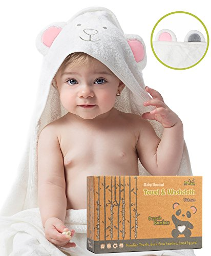 Luxury Hooded Baby Towel and Washcloth, ORGANIC Extra Soft Bamboo, Hypoallergenic & Antibacterial | Great Gift for Boys & Girls | better than Cotton, Large 35