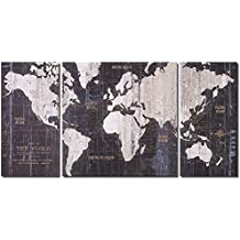 Old World Map Blue Pictures Modern Giclee Canvas Prints Artwork Paintings on Canvas Wall Art (12x24x2+24x24inch)