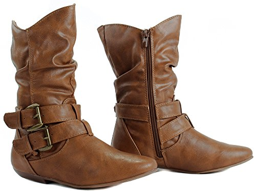 Forever Tan Faux Tamika Straps Boots Leather 32 with Women's Ankle Buckle rfRwqrxBaF