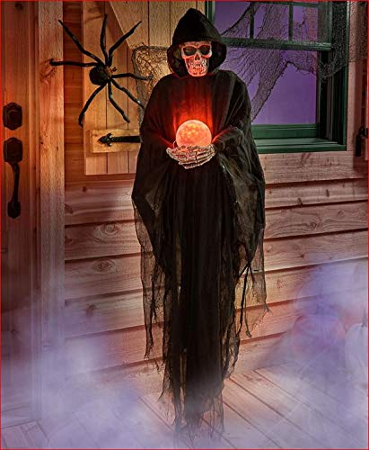 TRM LIFE SIZE PSYCHIC HALLOWEEN PROP GRIM REAPER WITH CRYSTAL BALL COLOR CHANGING -