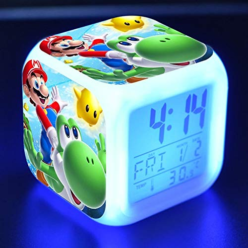 VIETCJ Anime Figurisup3R Marie Bros Doll Clock Alarm Led Colorful Thermometer Ma Figures Toys for Children- Complete Series Merchandise